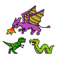 pixel art 8 bit objects dinosaur snake dragon vector image vector image