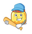 playing baseball cream jar character cartoon vector image