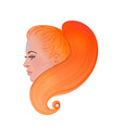 profile portrait redhead caucasian girl vector image