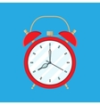 Red Alarm Clock on blue background vector image
