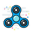 rotating fidget spinner toy colorful line isolated vector image