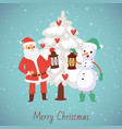 santa claus and snowman with laterns and snowy vector image