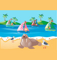 scene with kids sailing and animals on beach vector image vector image