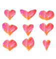 set beautiful watercolor hearts vector image vector image