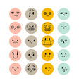 set hand drawn funny smiley faces happy kawaii vector image vector image