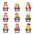 set of cute little kids in 3d-glasses vector image