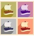 Set of flat web icons with long shadow sailing vector image vector image