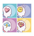 set of human minds card vector image
