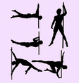 sexy male pole dance silhouette vector image vector image