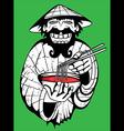 smiling asian guy serving noodle thai soup vector image vector image