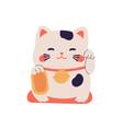 smiling maneki neko toy waving with left paw vector image