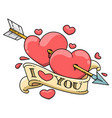 two hearts pierced an arrow vector image