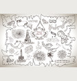 graphic set with treasure hunt concept vector image
