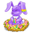 purple bunny sitting in basket with easter eggs vector image