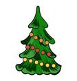 christmas tree icon cartoon vector image