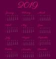 2019 calendar year - vintage vector image vector image