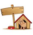 a cute dog at his dog house vector image