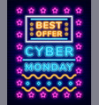 best offer poster with neon light shopping vector image