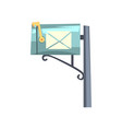 blue cartoon style mailbox on gray pole colorful vector image