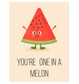 bright poster with cute cartoon watermelon vector image vector image