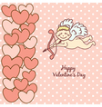 card Happy Valentines Day cupid with bow and arrow vector image