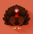 cartoon turkey with feathers thanksgiving card vector image