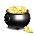 cauldron or a black pot full of gold coins vector image vector image