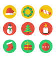 Christmas flat design icon set vector image vector image