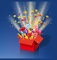christmas sweet gift box explosion of paper vector image vector image