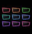 colorful neon frame set on transparent background vector image vector image
