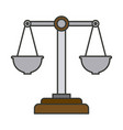 colorful silhouette of justice scales vector image vector image