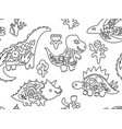contour dinosaurs with flora inside seamless vector image