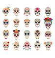 day dead skulls dia de los muertos vector image vector image