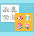 drawing of buildings in flat style and isometric vector image