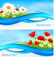 Flower banners with red poppies and daisies vector image