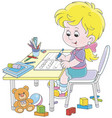 girl doing homework after her game with toys vector image vector image