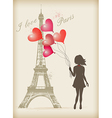 Girl with red balloons vector image