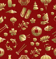 Gold asia culture icon seamless pattern chinese vector image vector image