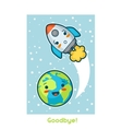 Goodbye Kawaii space funny card Doodles with vector image