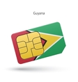Guyana mobile phone sim card with flag vector image