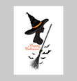 halloween greeting card with lettering happy vector image