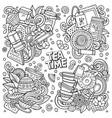 hand drawn doodles cartoon set tea vector image