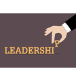 Hand inserts the last alphabet into leadership vector image