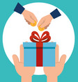 hands with gift and coins vector image vector image