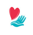 heart in hand logo health charity icon or symbol vector image