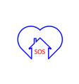 heart sos iconblue thin line and red word sos vector image