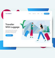 landing page template traveller with luggage vector image vector image
