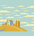 landscape with a village on a hill vector image vector image
