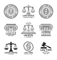 law office logos set with scales of justicegavel vector image vector image