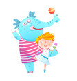 little girl and pet elephant dancing friends vector image vector image